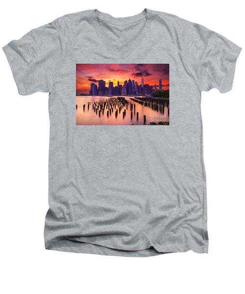 Manhattan Sunset Men's V-Neck T-Shirt