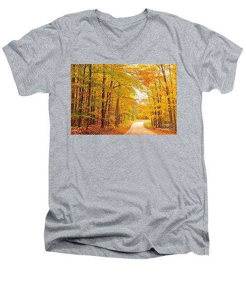 Manisee National Forest In Autumn Men's V-Neck T-Shirt