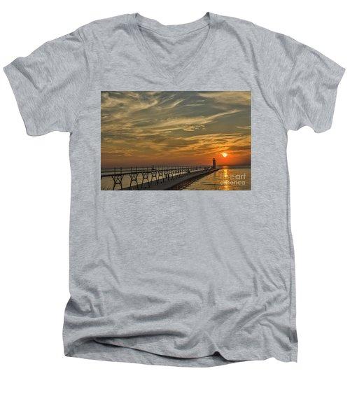Manistee North Pierhead Lighthouse Men's V-Neck T-Shirt
