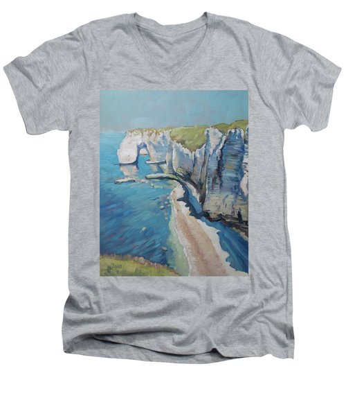 Manneport, The Cliffs At Etretat Men's V-Neck T-Shirt