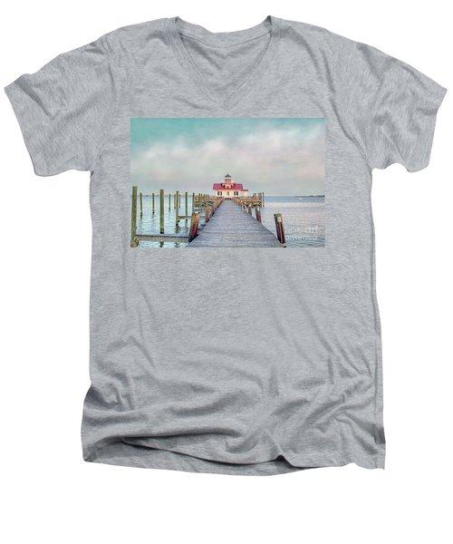 Manteo Lighthouse Men's V-Neck T-Shirt by Marion Johnson