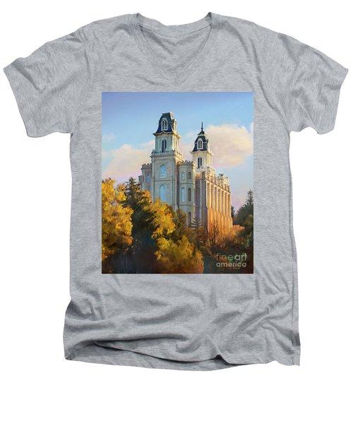 Manti Temple Tall Men's V-Neck T-Shirt