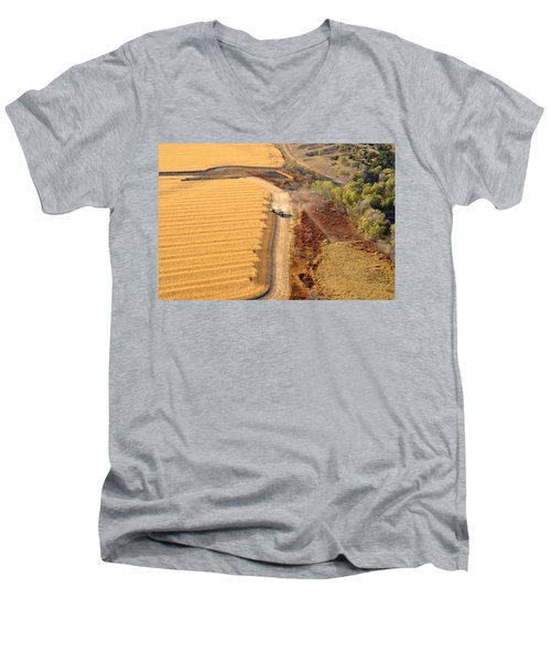 Many Acres To Harvest Men's V-Neck T-Shirt