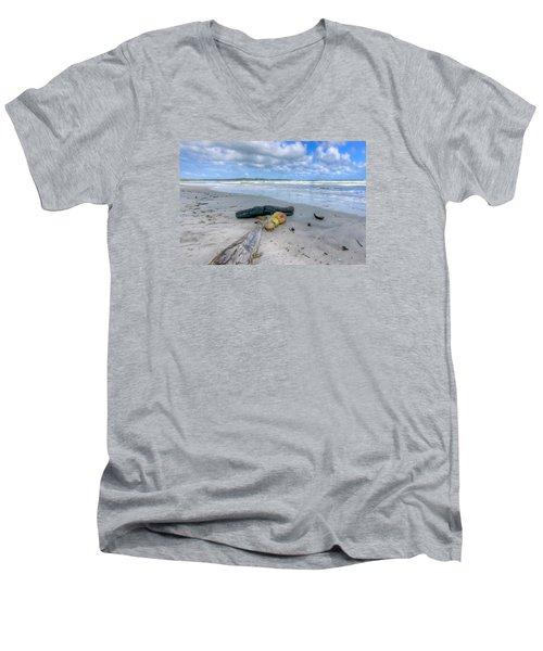 Manzanilla Beach Men's V-Neck T-Shirt by Nadia Sanowar