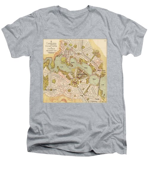 Map Of Canberra 1913 Men's V-Neck T-Shirt by Andrew Fare