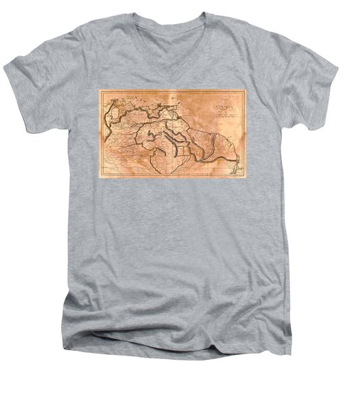 Map Of Caracas 1814 Men's V-Neck T-Shirt by Andrew Fare