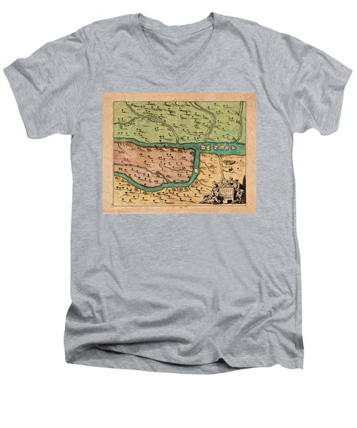Map Of Iraq 1680 Men's V-Neck T-Shirt by Andrew Fare