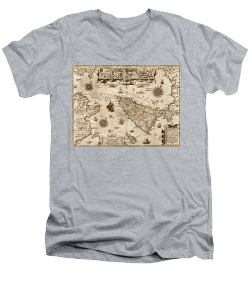 Map Of Sicily 1594 Men's V-Neck T-Shirt by Andrew Fare