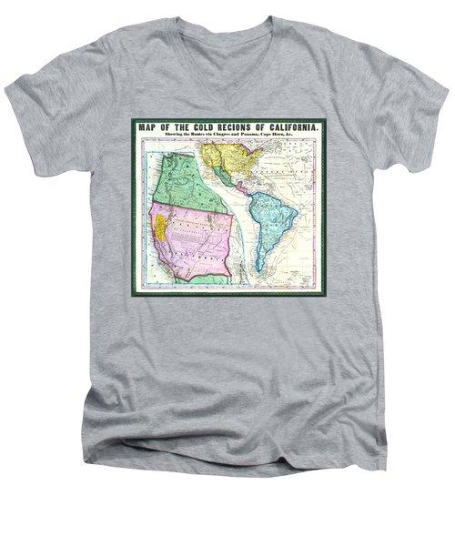 Map Of The Gold Regions Of California Men's V-Neck T-Shirt