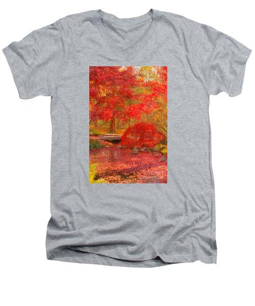 Men's V-Neck T-Shirt featuring the photograph Maple Bridge by Geraldine DeBoer
