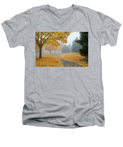 Maple Leaf Path Men's V-Neck T-Shirt