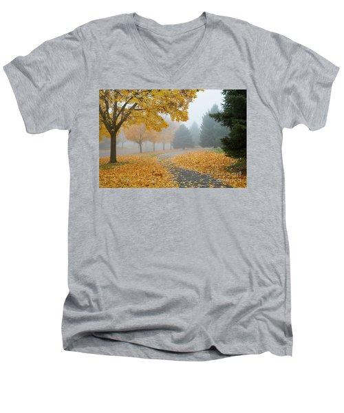 Maple Leaf Path Men's V-Neck T-Shirt