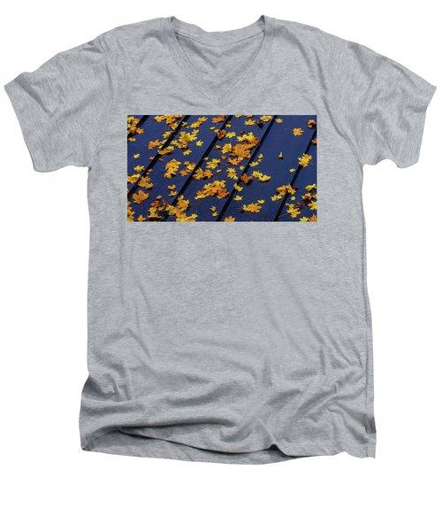 Maple Leaves On A Metal Roof Men's V-Neck T-Shirt
