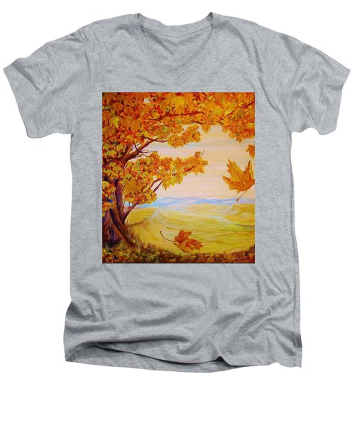 Men's V-Neck T-Shirt featuring the painting Maple One by Cathy Long