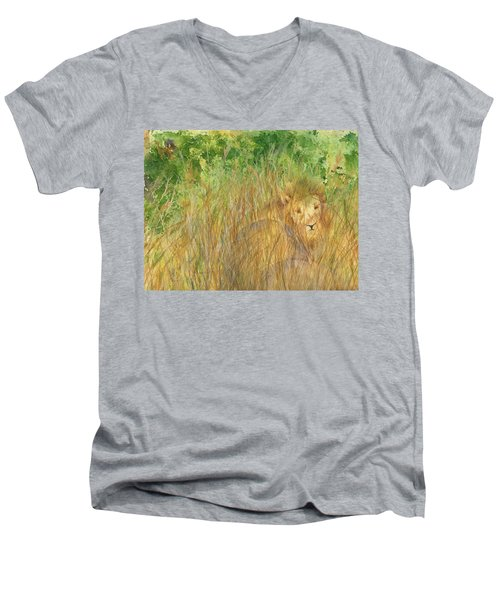Men's V-Neck T-Shirt featuring the painting Mara The Lioness by Vicki  Housel