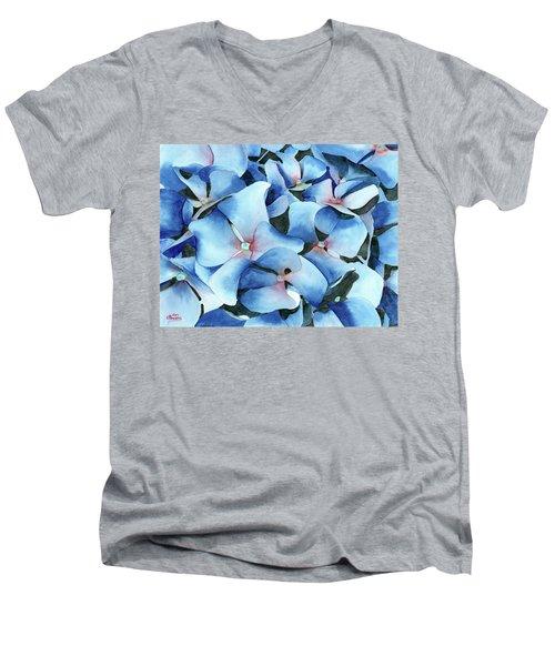 Marathon Hydrangeas Men's V-Neck T-Shirt