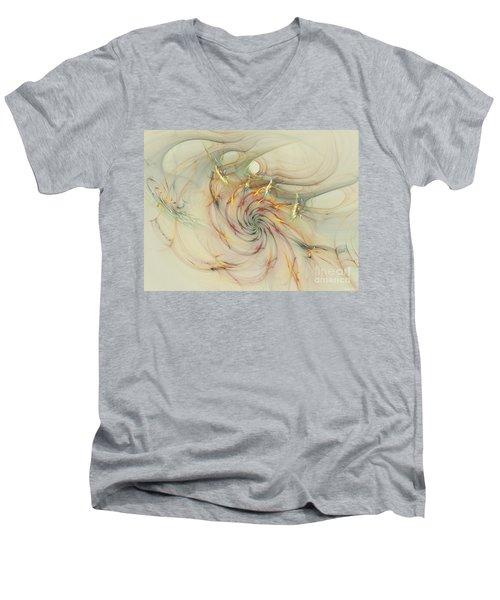 Marble Spiral Colors Men's V-Neck T-Shirt by Deborah Benoit