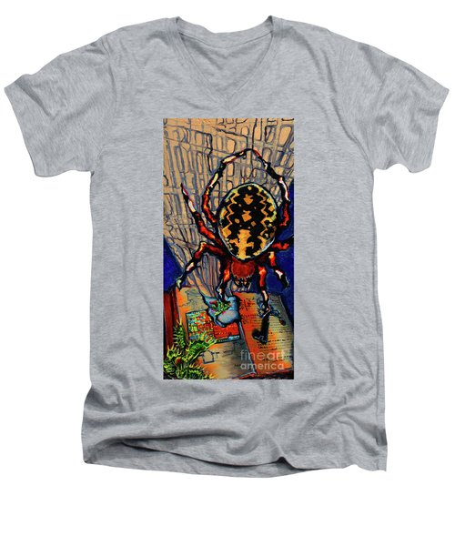 Marbled Orbweaver Men's V-Neck T-Shirt by Emily McLaughlin
