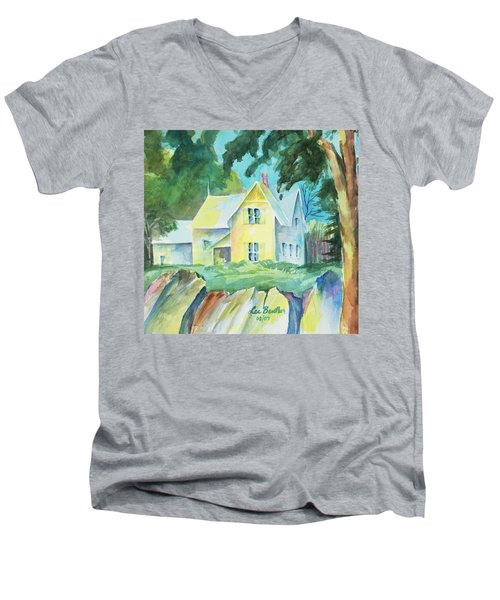 Marblehead Cottage Men's V-Neck T-Shirt by Lee Beuther