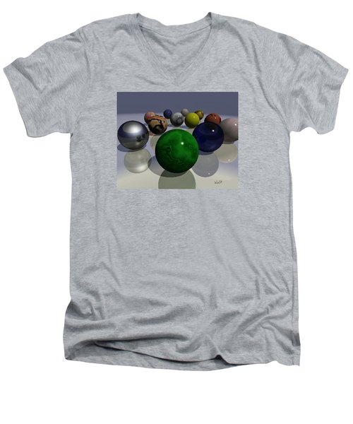 Men's V-Neck T-Shirt featuring the digital art Marbles by Walter Chamberlain