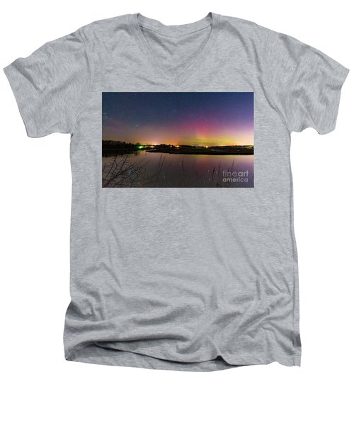 March 6 Aurora Over Scarborough Marsh  Men's V-Neck T-Shirt