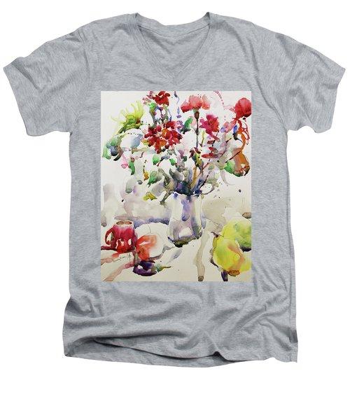March Greeting Men's V-Neck T-Shirt by Becky Kim
