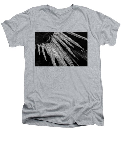 Men's V-Neck T-Shirt featuring the photograph March Icicles 3 by Mike Eingle