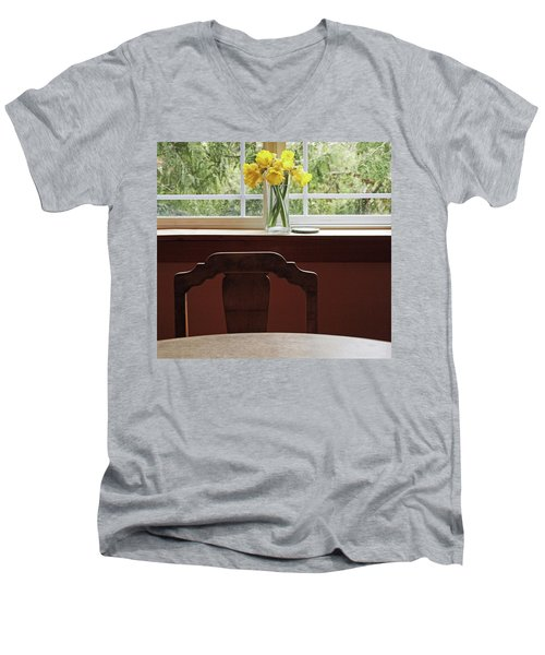Men's V-Neck T-Shirt featuring the photograph March by Laurie Stewart