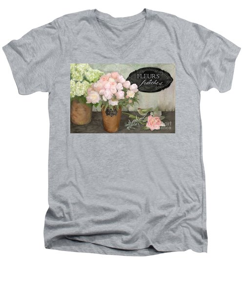 Men's V-Neck T-Shirt featuring the painting Marche Aux Fleurs 2 - Peonies N Hydrangeas W Bird by Audrey Jeanne Roberts