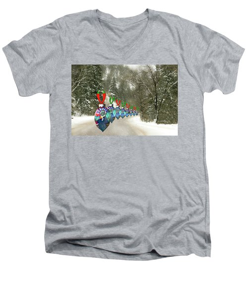 Marching Ornaments Chili Peppers Men's V-Neck T-Shirt