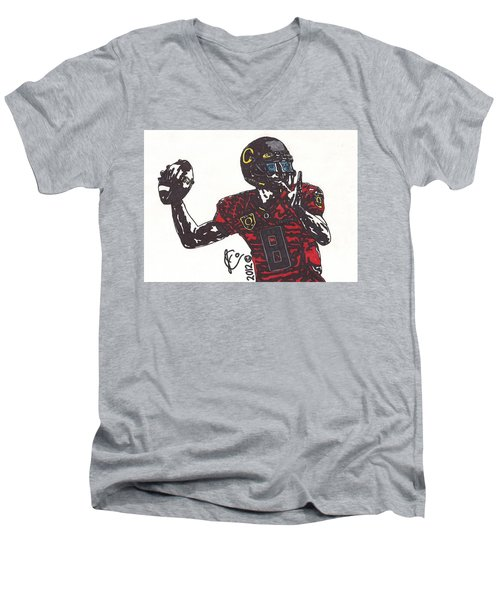Marcus Mariota 1 Men's V-Neck T-Shirt by Jeremiah Colley