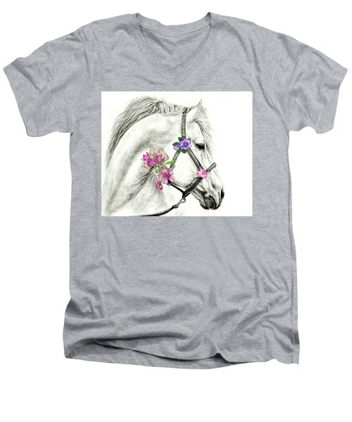 Mare With Flowers Men's V-Neck T-Shirt