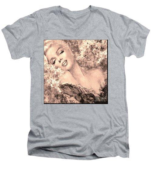 Marilyn Cherry Blossom, B Sepia Men's V-Neck T-Shirt