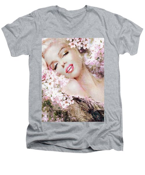 Marilyn Cherry Blossom B Men's V-Neck T-Shirt