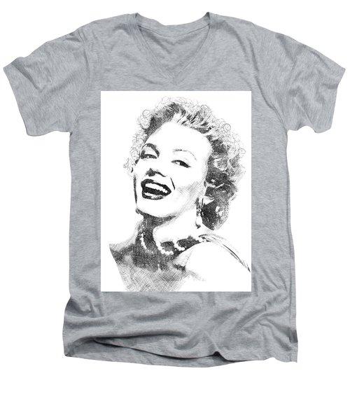 Marilyn Monroe Bw Portrait Men's V-Neck T-Shirt by Mihaela Pater