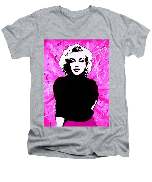 Marilyn Monroe In Hot Pink Men's V-Neck T-Shirt by Bob Baker
