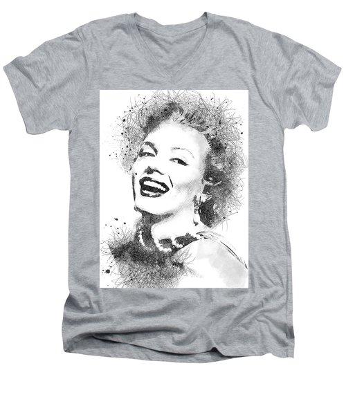 Marilyn Monroe Scribbles Portrait Men's V-Neck T-Shirt