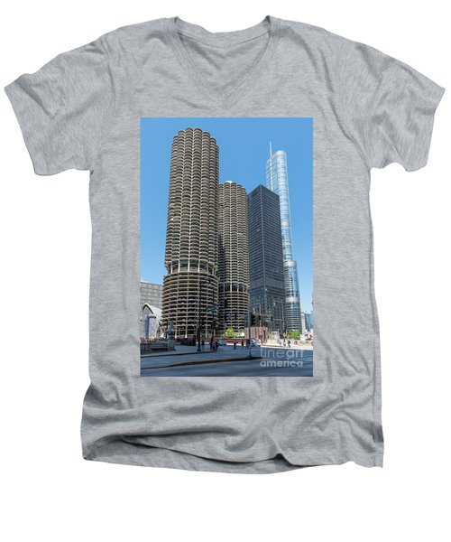 Marina City, Ama Plaza, And Trump Tower Men's V-Neck T-Shirt