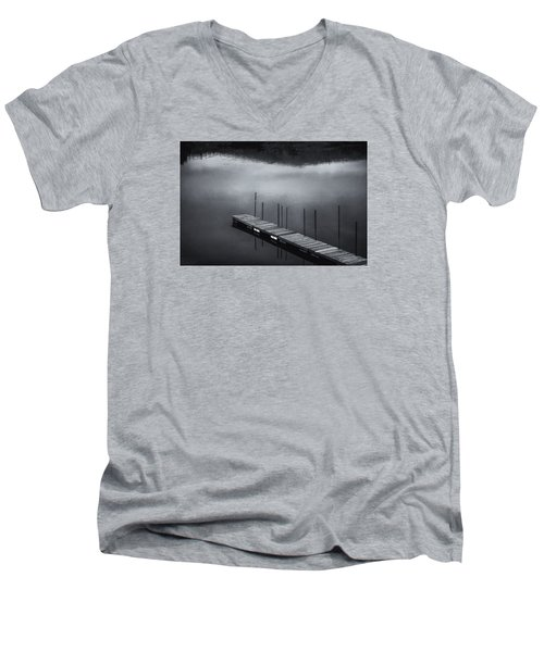 Men's V-Neck T-Shirt featuring the photograph Marina Dock by Tom Singleton