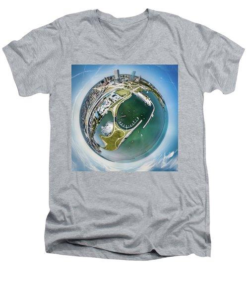 Men's V-Neck T-Shirt featuring the photograph Marina by Randy Scherkenbach
