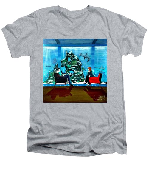 Marinelife Observing Couple Sitting In Chairs Men's V-Neck T-Shirt