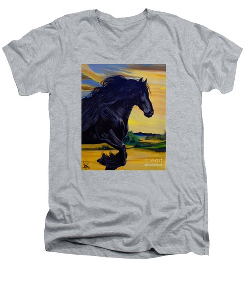 Friesian Paradise Men's V-Neck T-Shirt by Cheryl Poland