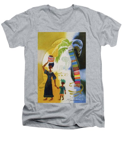 Market Day Men's V-Neck T-Shirt by Marilyn Jacobson