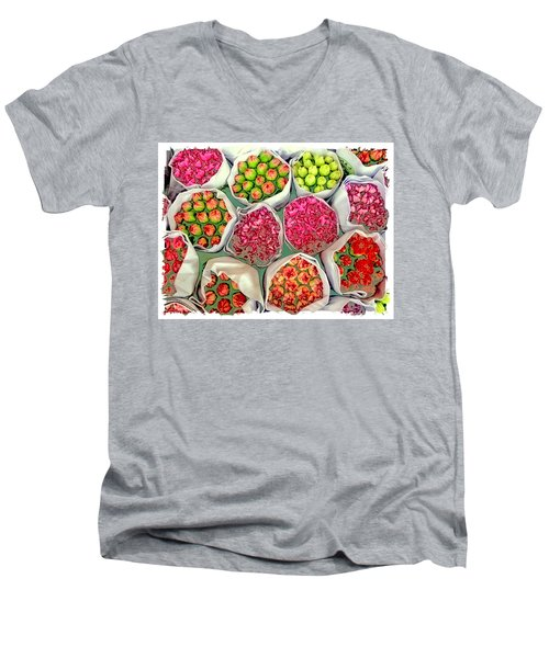 Market Flowers - Hong Kong Men's V-Neck T-Shirt