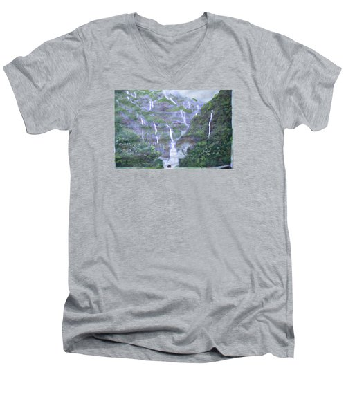 Men's V-Neck T-Shirt featuring the painting Marleshwar by Vikram Singh