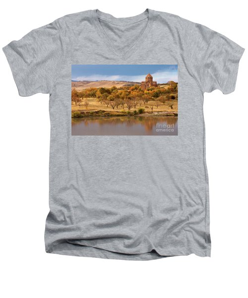 Marmashen Monastery Reflected On Lake At Autumn, Armenia Men's V-Neck T-Shirt by Gurgen Bakhshetsyan