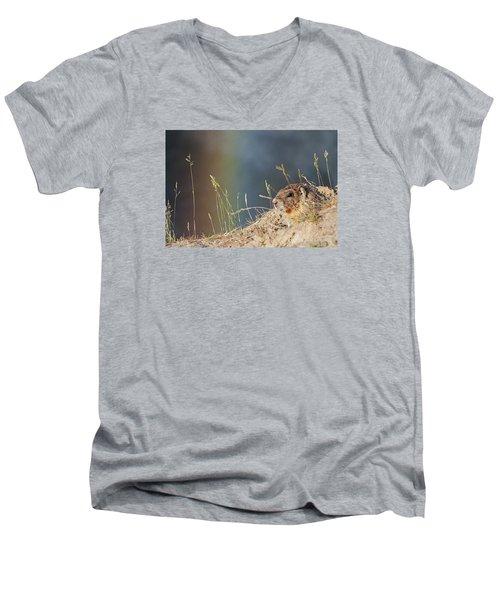 Marmot And Rainbow Men's V-Neck T-Shirt