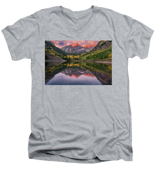Maroon Bells At Sunrise Men's V-Neck T-Shirt