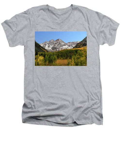 Men's V-Neck T-Shirt featuring the photograph Maroon Bells by Dana Sohr