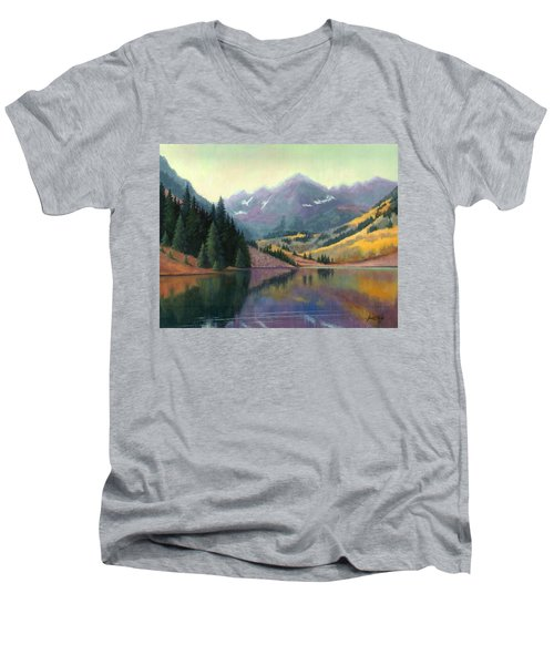 Men's V-Neck T-Shirt featuring the painting Maroon Bells In October by Janet King